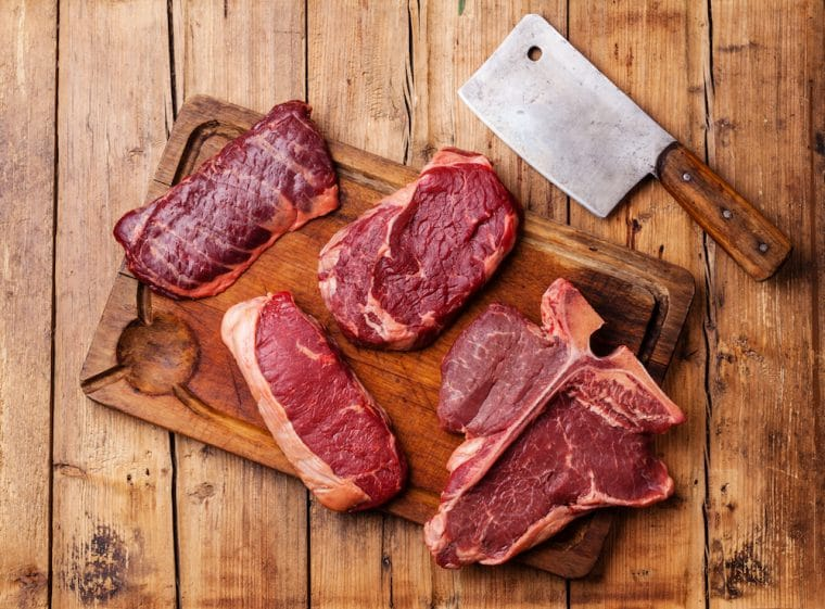 A range of beef steak cuts